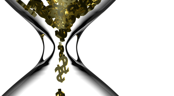 Gold dollar symbols falling through an hourglass 3d Rendering.